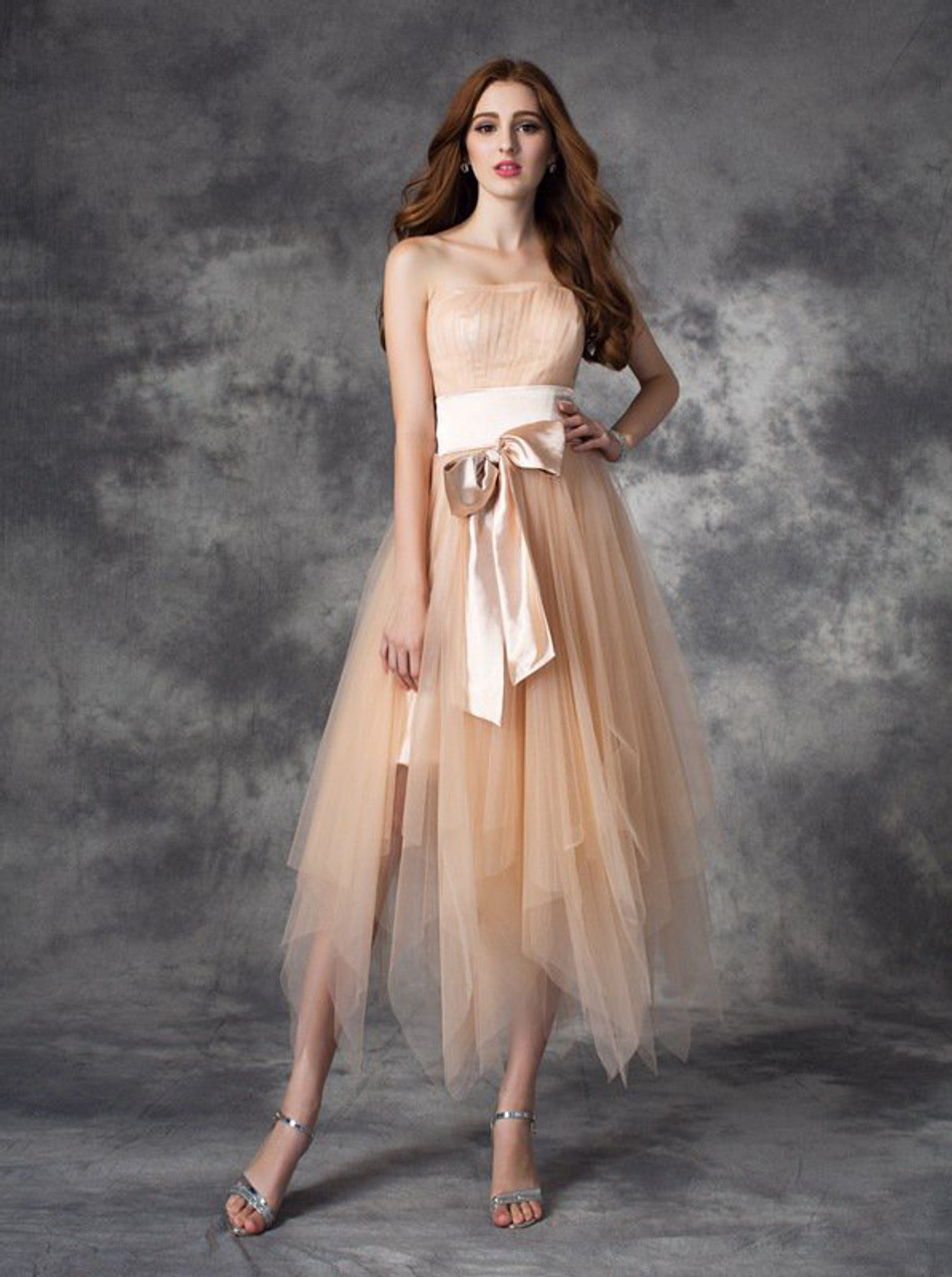 fa2c11b1884 Champagne Asymmetrical Tulle Homecoming Dresses
