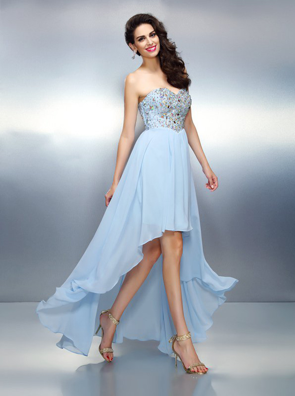 468302bed SkyBlue Sweetheart Homecoming Dresses,High Low Prom Dress,11448 -  Landress.co.uk