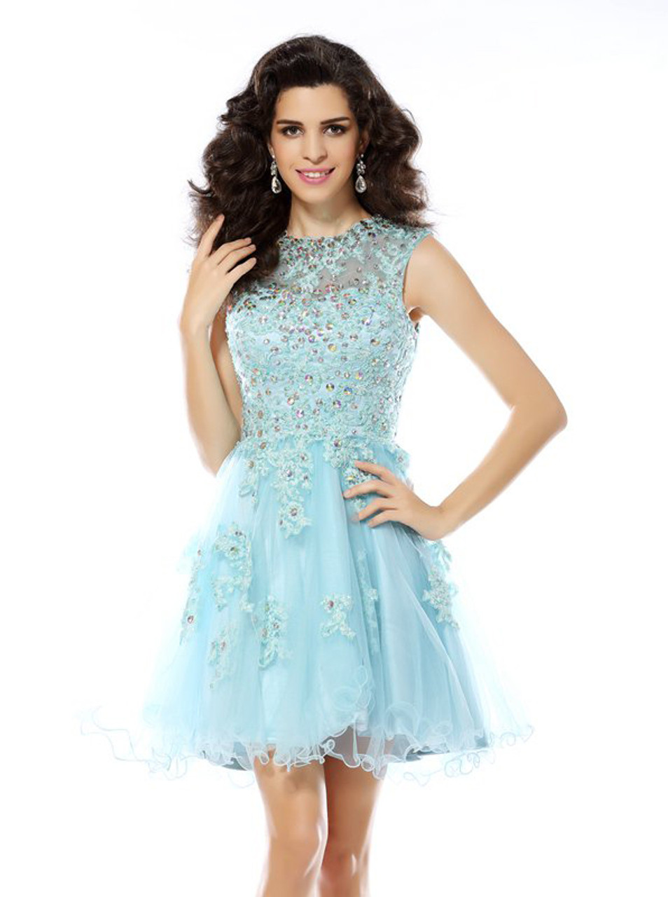7ec7178b7 SkyBlue Homecoming Dresses,Cutout Short Prom Dress,11449 - Landress.co.uk