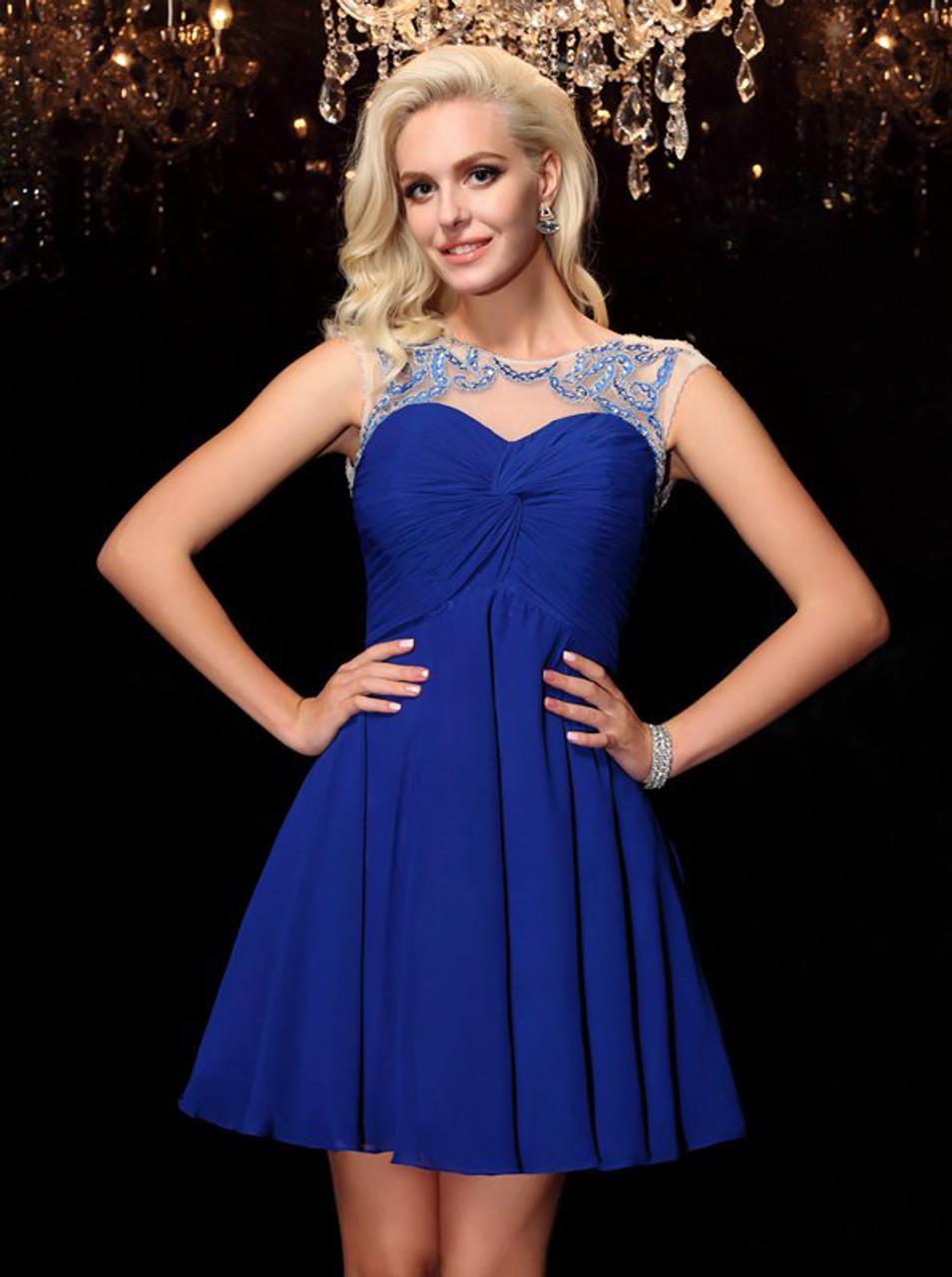 4ab732e68f3 Royal Blue Chiffon Cocktail Dresses
