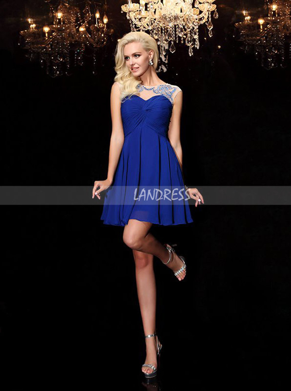 444a41e130d ... Royal Blue Chiffon Cocktail Dresses