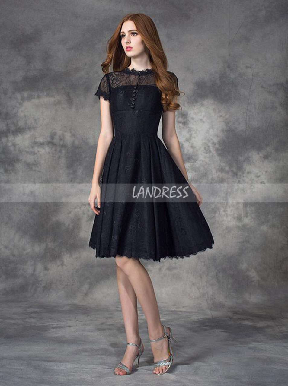 3cb86eeac Black Lace Homecoming Dress with Short Sleeves,Short Prom Dress For Teens,11510  - Landress.co.uk