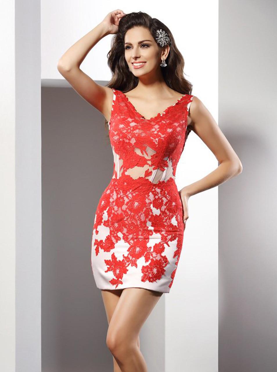 58c32af54be Red Sheath V-neck Homecoming Dress