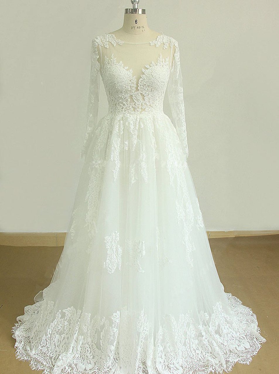 Lace Wedding Dress With Long Sleevescutout Back Bridal Dress11601