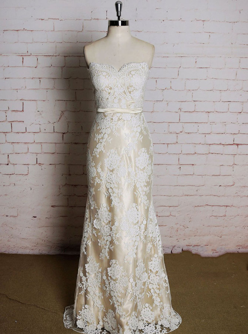 Champagne Lace Wedding Dressesstrapless Fit And Flare Wedding Dress