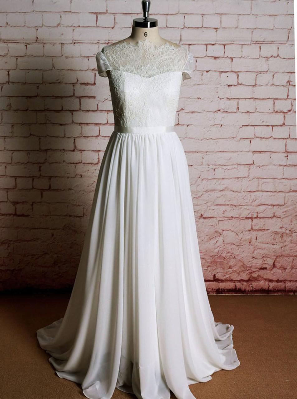 Boho Wedding Dresses With Short Sleeveschiffon Wedding Dress11615