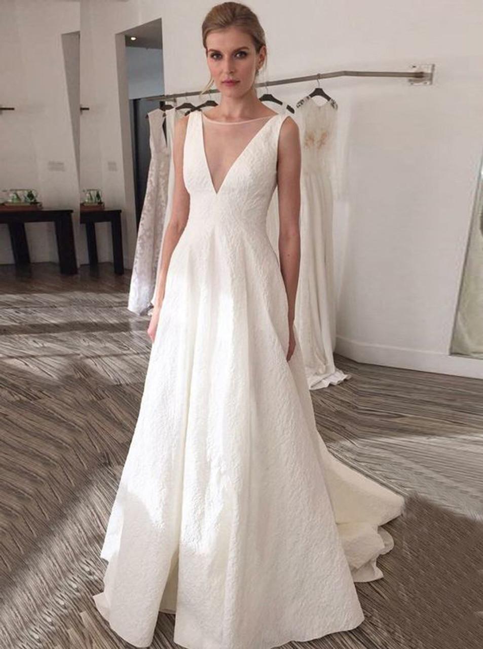 3db57701280f1 A Line V Neck Wedding Dress - Wedding Dress   Decore Ideas