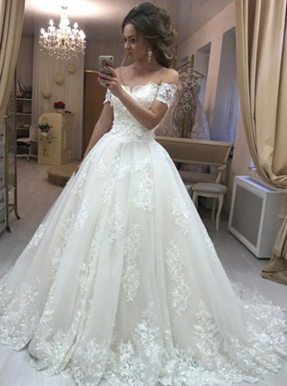 deb006c346521 Princess Off the Shoulder Ball Gown Wedding Dress,Classic Wedding Gown,11640  - Landress.co.uk
