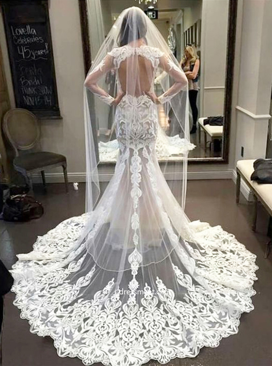 Mermaid Lace Wedding Dresses With Long Sleeves Open Back Wedding Dress 11645 Landress Co Uk,Wedding Dresses Toronto Plus Size