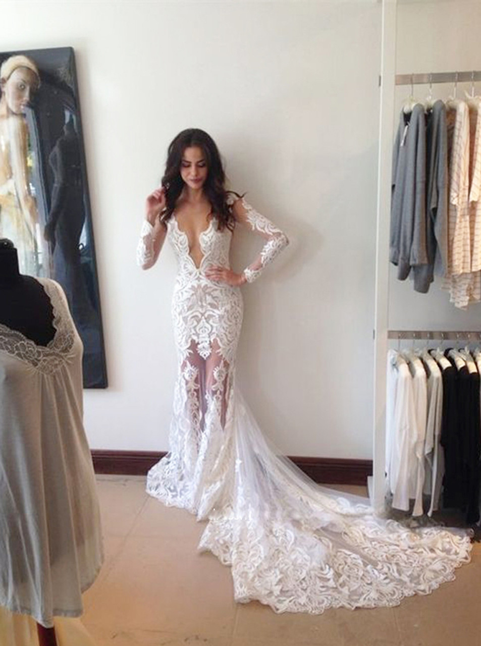 Mermaid Lace Wedding Dresses With Long Sleevesopen Back Wedding