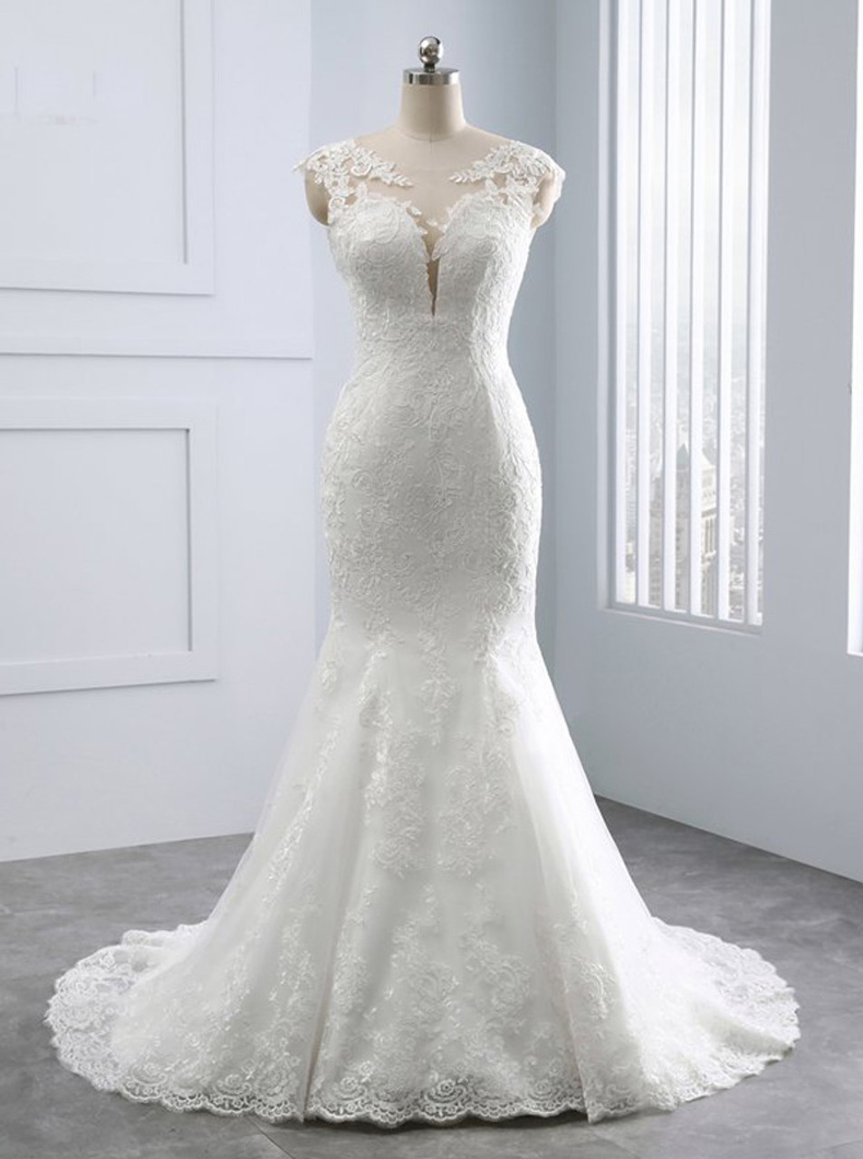 Lace Vintage Wedding Dress.Ivory Mermaid Wedding Dresses Lace Vintage Wedding Dress 11682