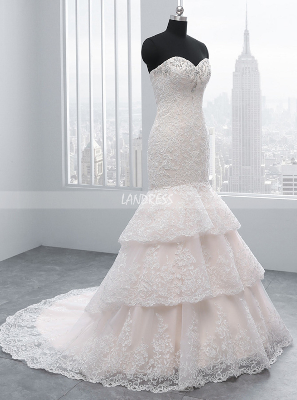 Champagne Mermaid Wedding Dresses Lace Layered Wedding Dress 11687