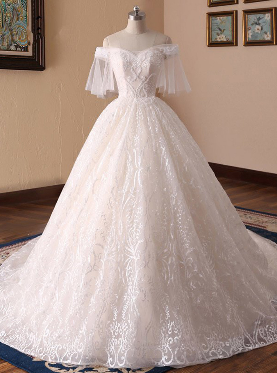Princess Wedding Gown: Lace Wedding Dresses With Short Sleeves,Princess Ball Gown