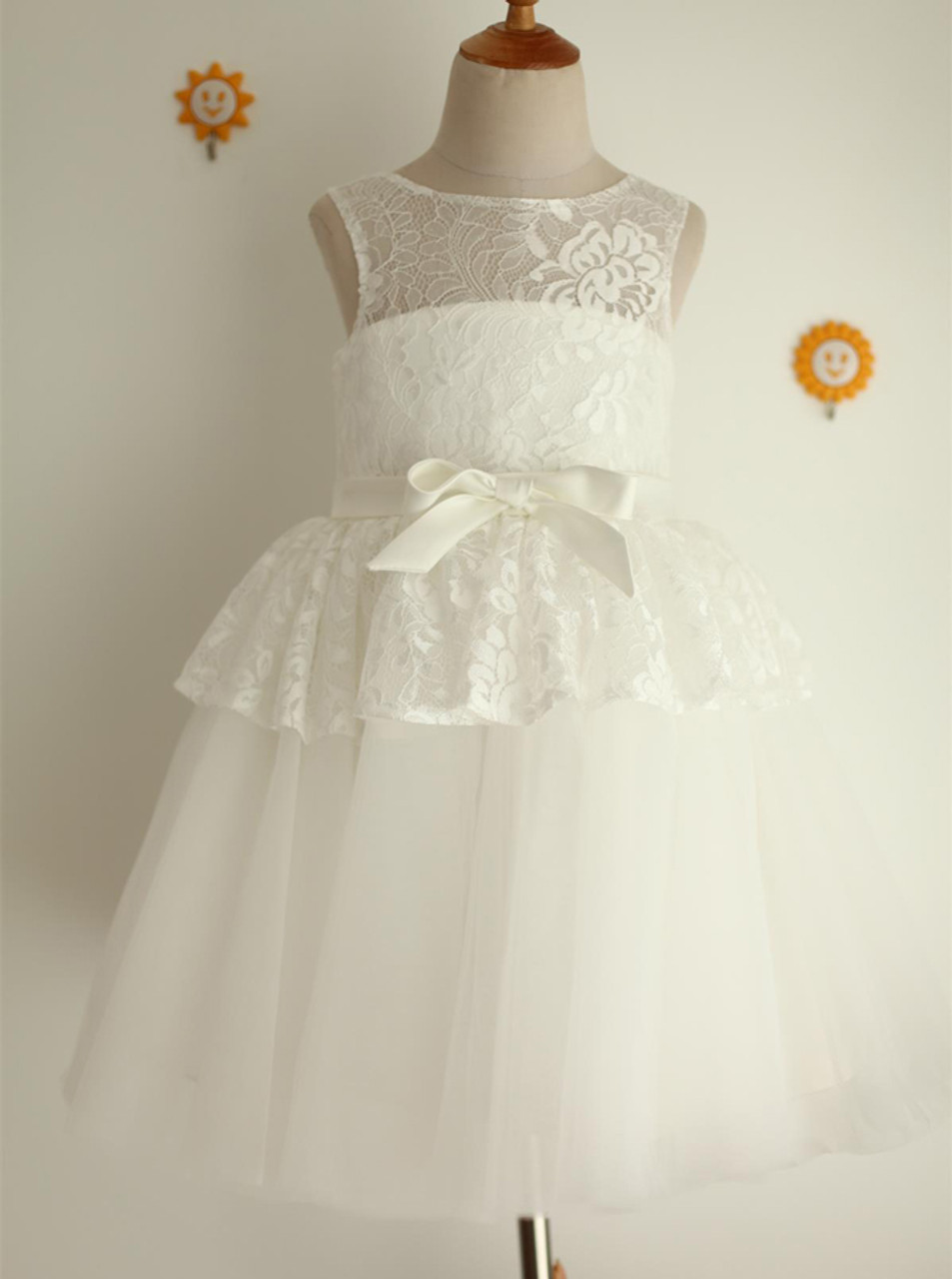 White Flower Girl Dresseslace Flower Girl Dress11818 Landress