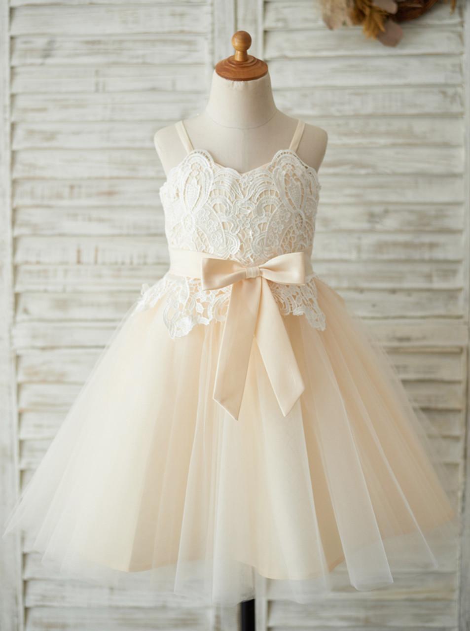 364481fd Champagne Flower Girl Dress,Girl Birthday Party Dress,11824 - Landress.co.uk