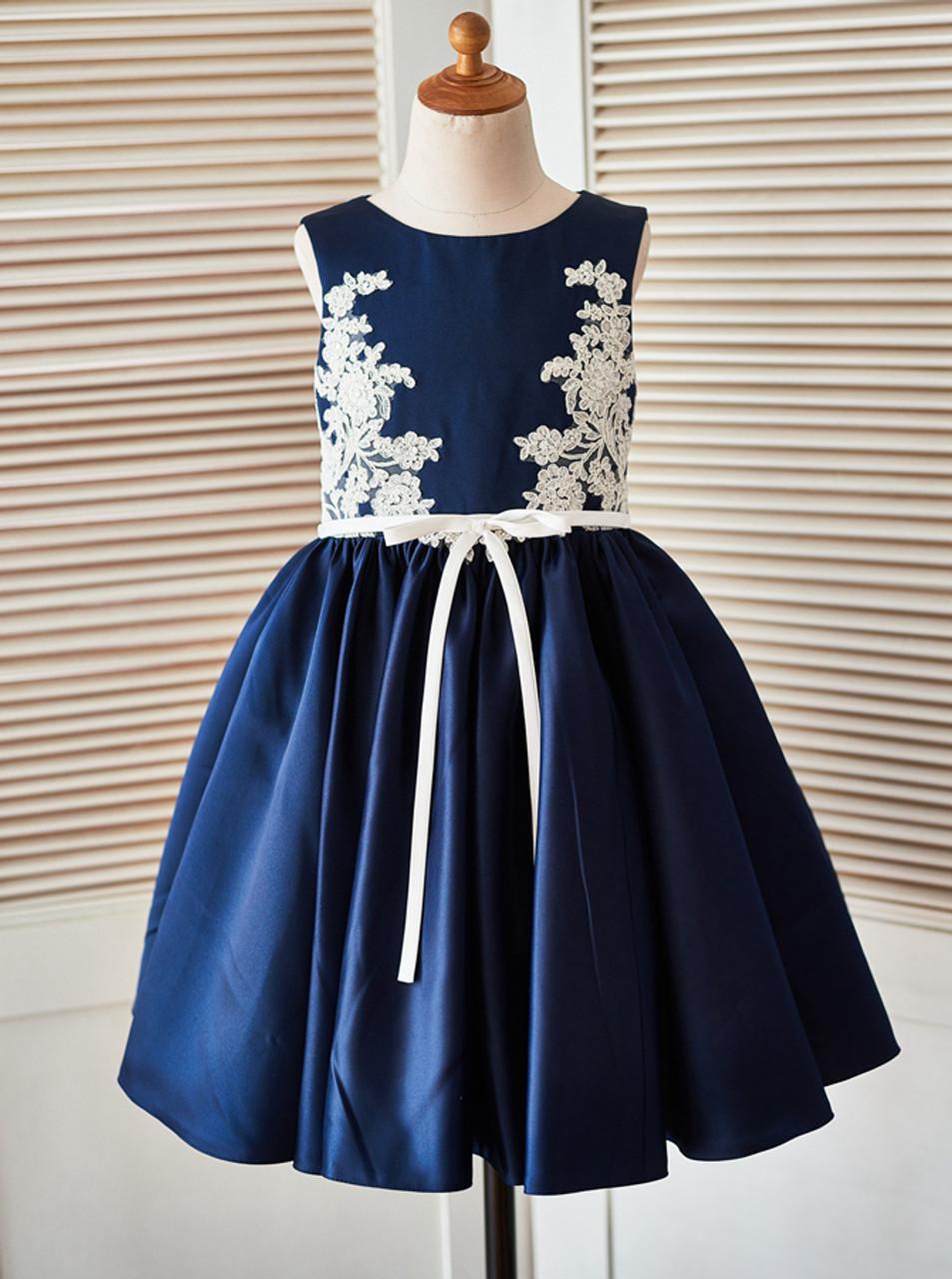 2475441f3 Dark Navy Flower Girl Dresses,Satin Girl Party Dress,11825 - Landress.co.uk