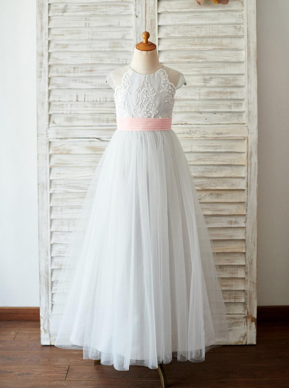 Silver Flower Girl Dressesfloor Length Flower Girl Dress11852