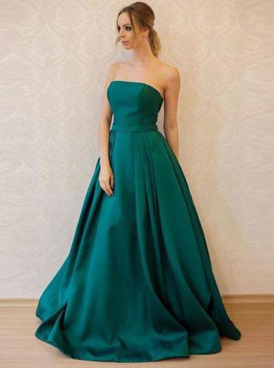 Teal Satin Prom Dressesstrapless Formal Prom Dresslong Elegant