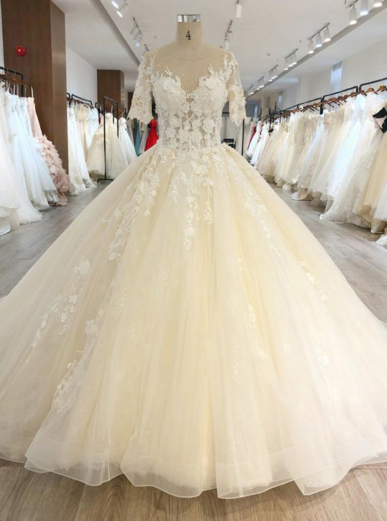 Champagne Ball Gown Dresses with Short Sleeves,Long Train Floral ...