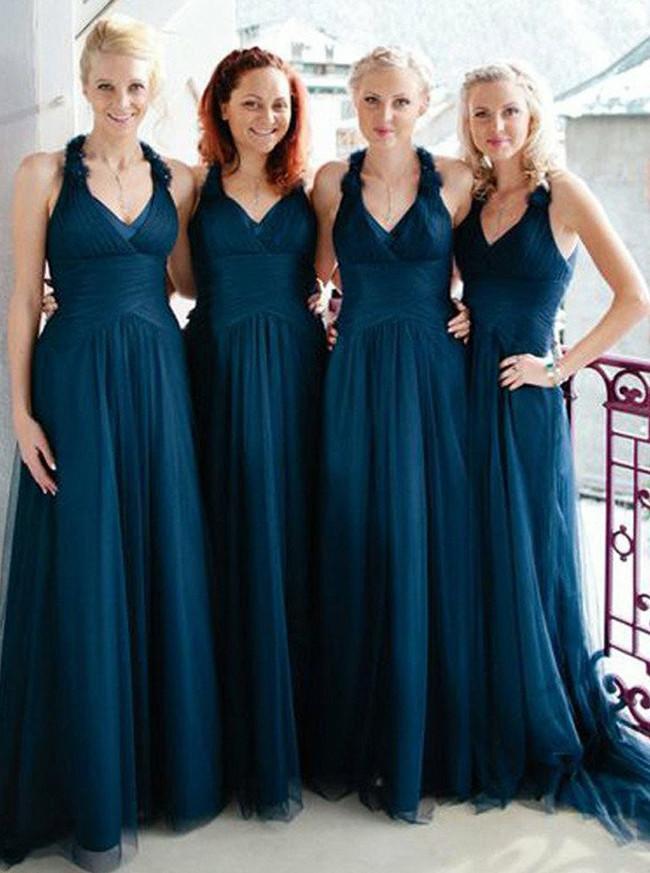 Tulle Elegant Bridesmaid Dresses,Halter Bridesmaid Dress,11958