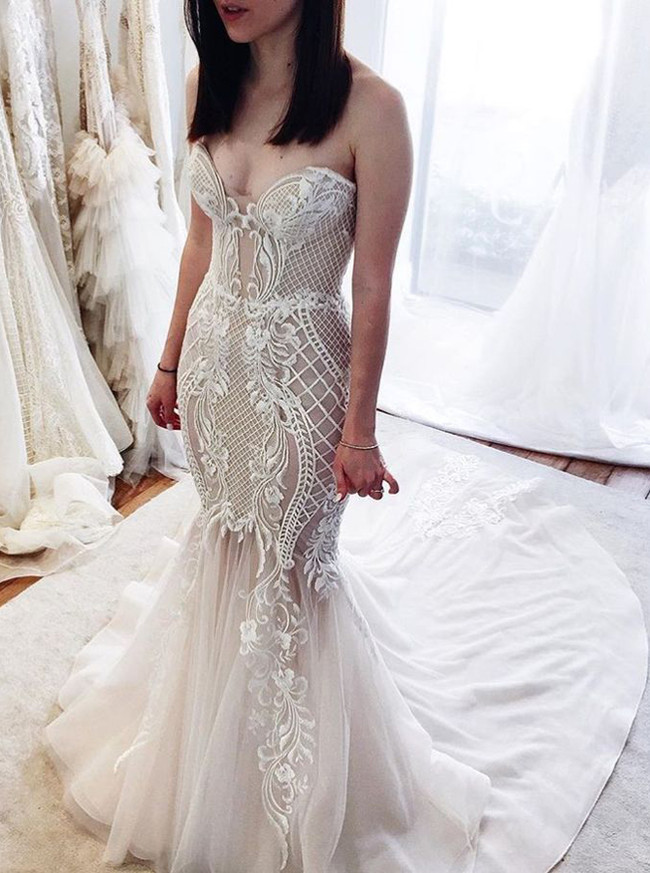 Mermaid Sweetheart Wedding Dresses,Fitted Bridal Gown,11959