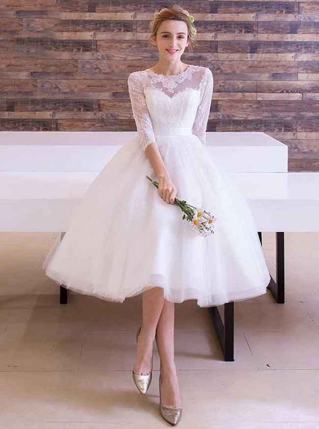 Knee Length Wedding Dress with Sleeves,Elegant Wedding Dress,11960