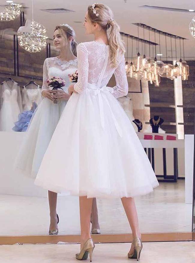 Knee Length Wedding Dress with Sleeves,Elegant Wedding Dress,11960