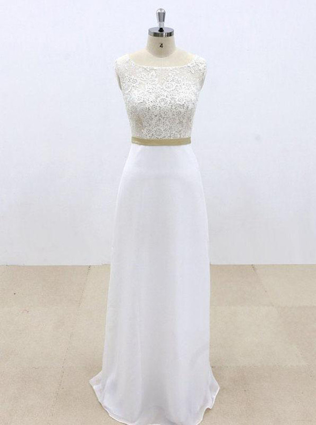 Column Wedding Dresses,Floor Length Bridal Dress,Destination Bridal Dress,11962