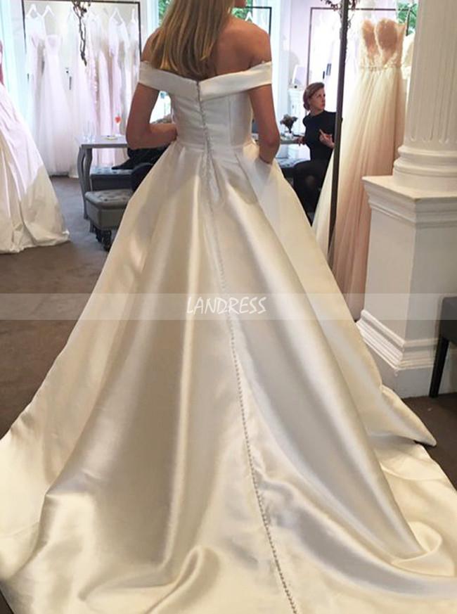 Satin Off the Shoulder Wedding Dresses,A-line Bridal Dress with Pockets,11963
