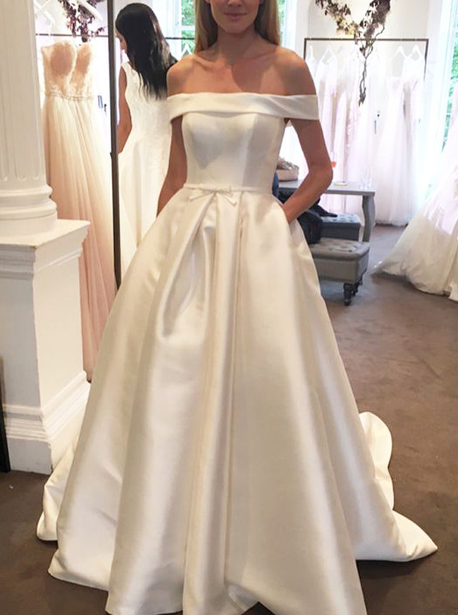Details about  /OFF-THE-SHOULDER SATIN WEDDING GOWN