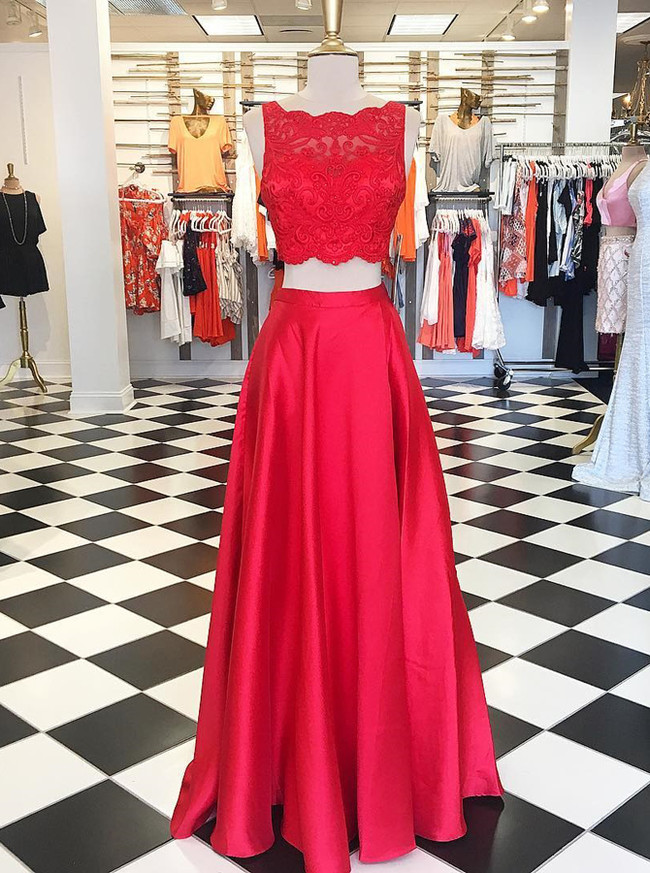 Red Two Piece Prom Dresses,Satin Evening Dress,Modest Prom Dress,11964