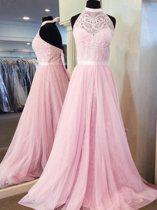 Pink Lace Tulle Prom Dresses,Halter Evening Dress,11965