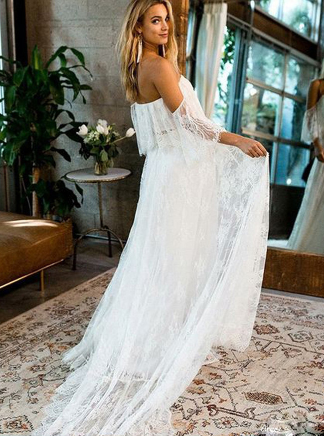 Boho Lace Wedding Dresses,Off the Shoulder Wedding Dress,11966