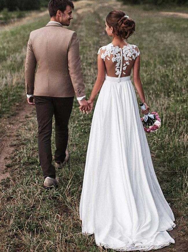 Beach Wedding Dress,Illusion Wedding Dress,11967