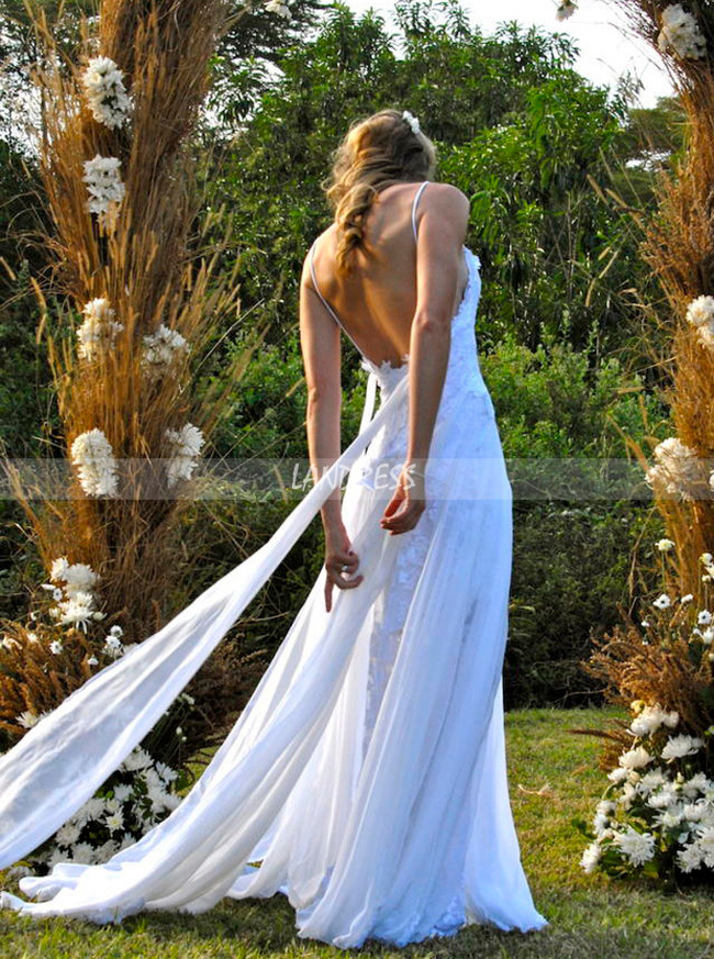 Boho Wedding Dresses with Straps,Lace Chiffon Open Back Bridal Dress,11968