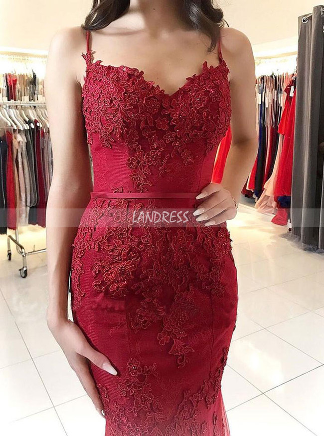 Burgundy Mermaid Evening Dress with Straps,Formal Lace Prom Dress,11970