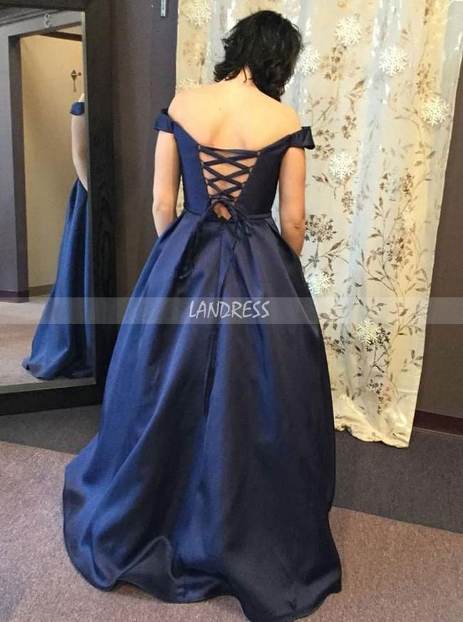 Modest Prom Dress,Lace Up Prom Dress,Dark Navy Satin Prom Dress,11971