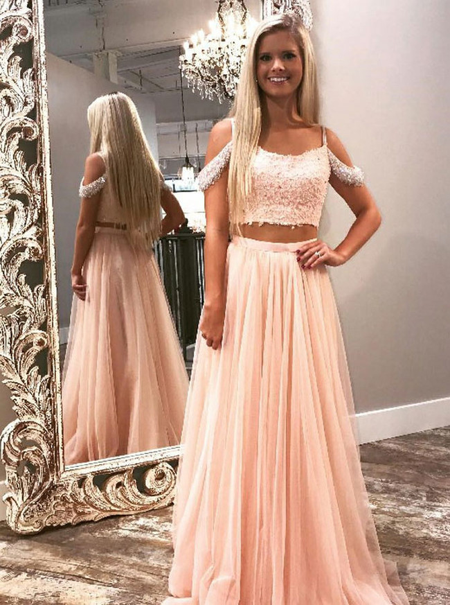 Two Piece Prom Dresses for Teens,Tulle Long Prom Dress,11972