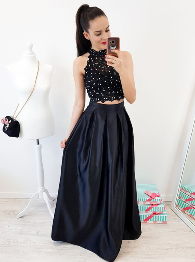 Black Two Piece Prom Dress,High Neck Formal Dress,11973