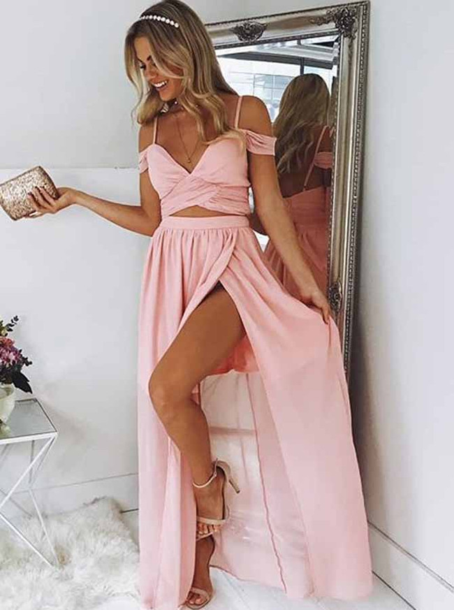 Two Piece Chiffon Dresses,Simple Prom Dress with Slit,11975