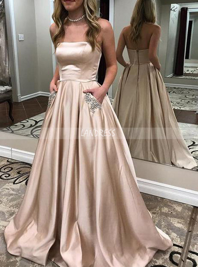 Strapless Prom Dress with Pockets,Satin Long Prom Dress,11976