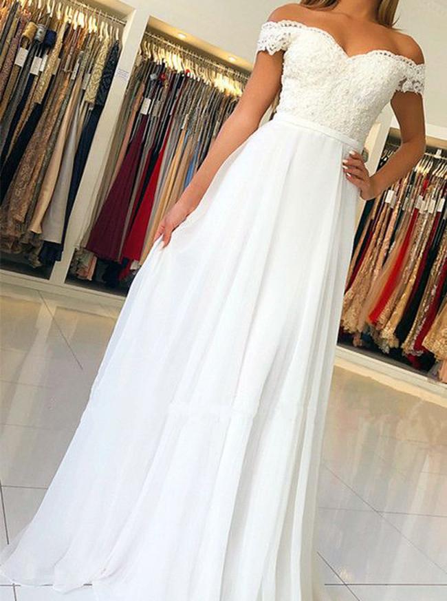 Ivory Off the Shoulder Prom Dress,Graduation Girl Dress,Chiffon Long Dress,11977