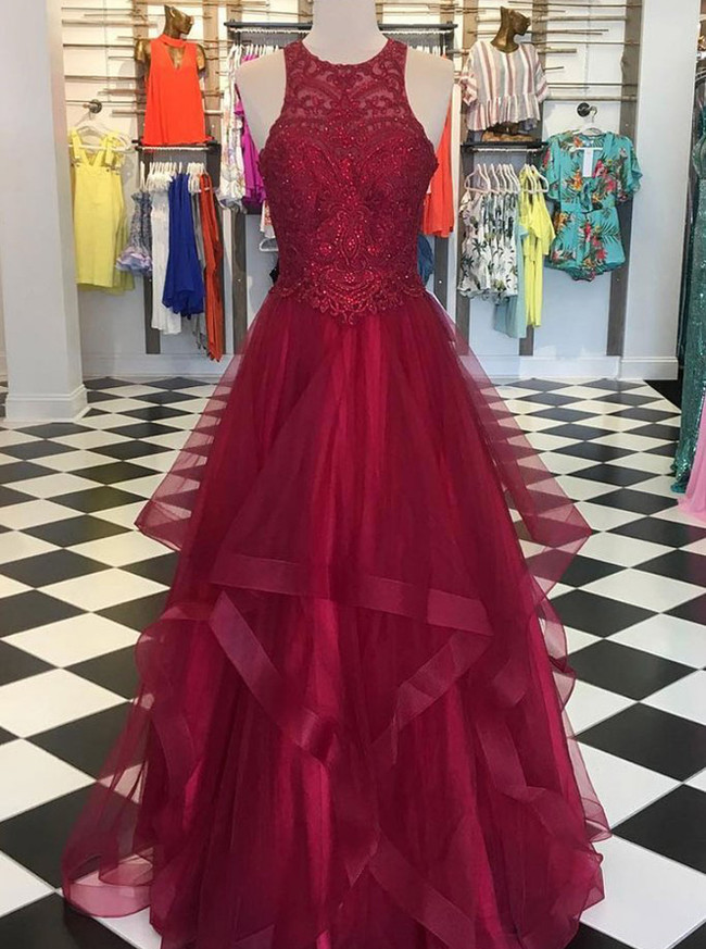 Burgundy Prom Dresses,Ruffled Tulle Evening Dress,11978