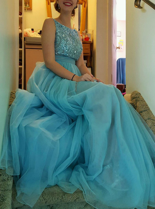 Blue Prom Dresses,Prom Dress for Teens,Modest Evening Dress,11980