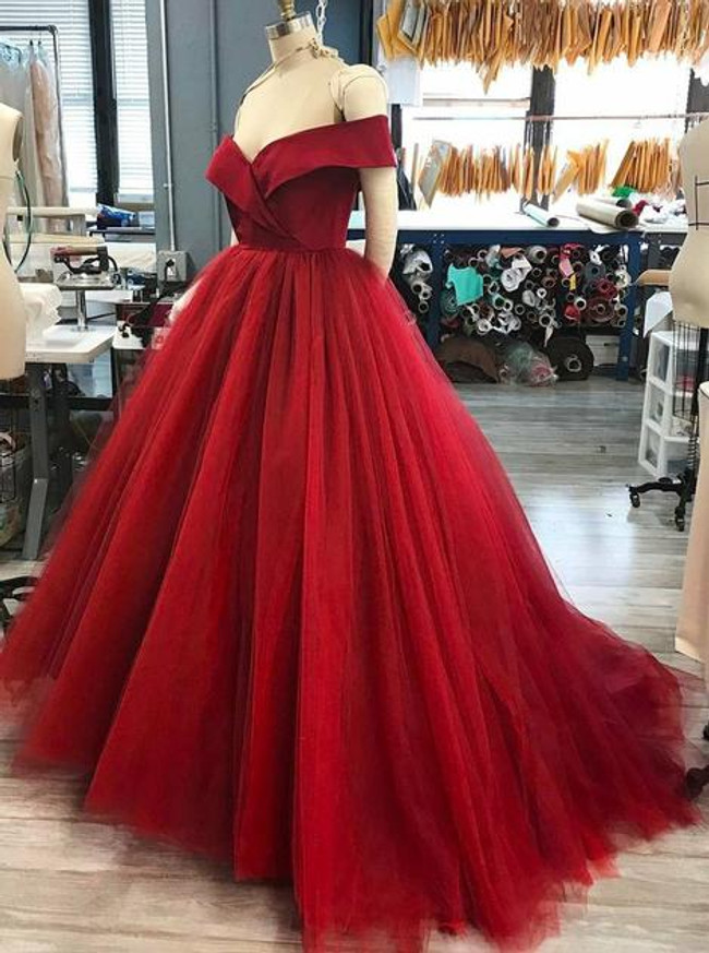 Red Ball Gown Sweet 16 Dresses,Off the Shoulder Prom Gown,11986