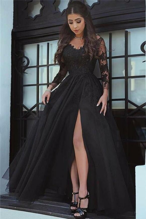 Black Prom Dress with Sleeves,Tulle Evening Dress with Slit,11990