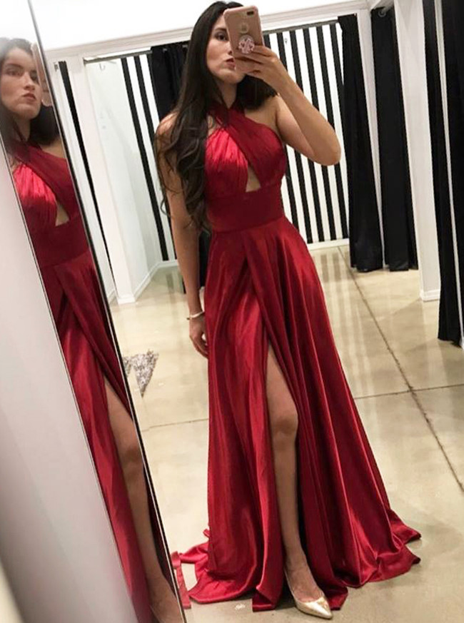 Halter Prom Dresses,Silk Like Satin Bridesmaid Dress,11991