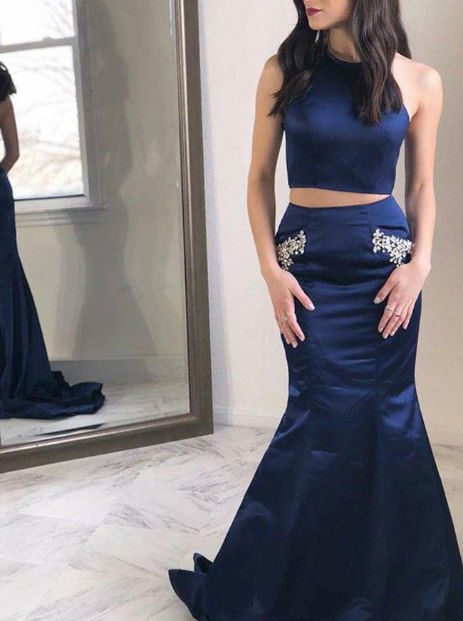 Dark Navy Mermaid Prom Dress,Two Piece Evening Dress,11992