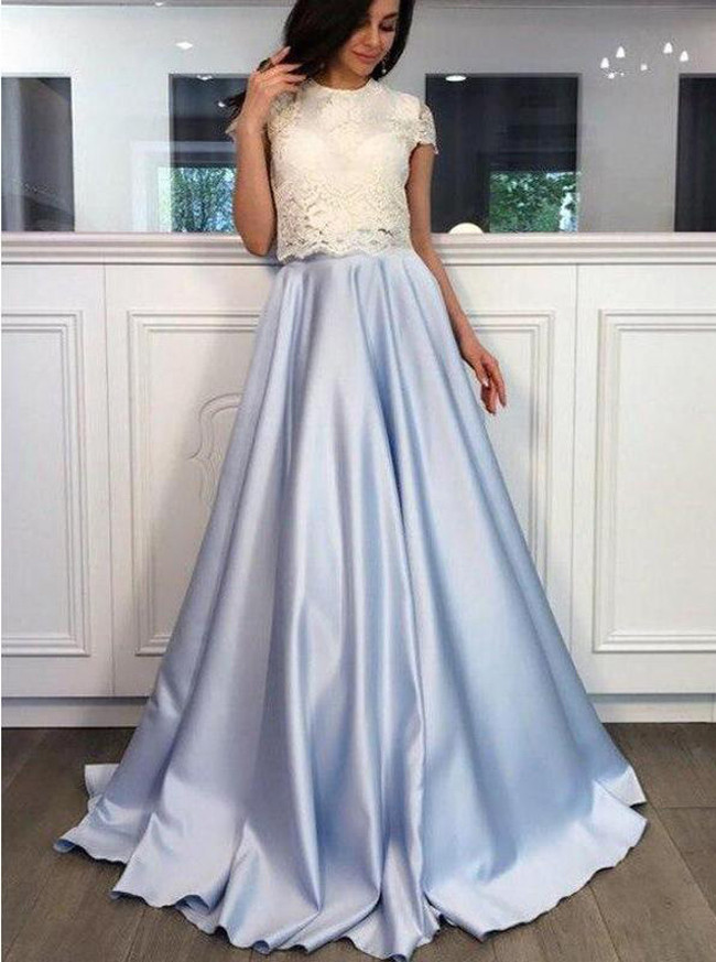 Two Piece Prom Dress For Teens,Modest Satin Prom Dress,11996