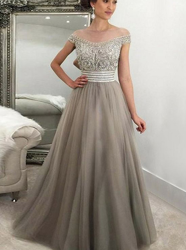 Princess Off the Shoulder Prom Dress,A-line Beaded Evening Dress,11999